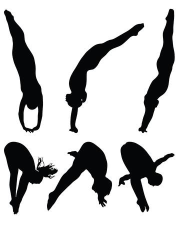 springplank: Mensen springen in het water, silhouet Stock Illustratie