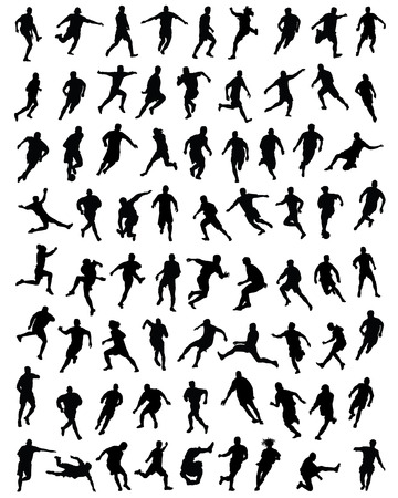 football players: Black silhouettes  of football players, vector