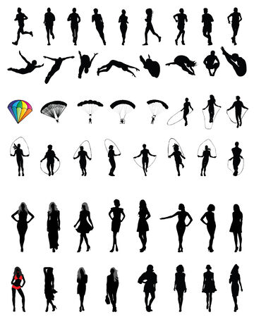 paratrooper: Silhouettes of people in different situations, vector  Illustration