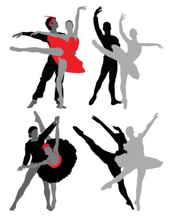 lyrical dance: Silhouettes of ballet dancers, vector