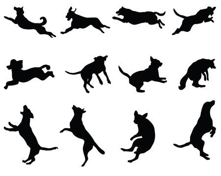�jumping: Negro siluetas de perros saltando, vector Vectores