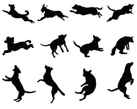 Black silhouettes of jumping dogs, vector