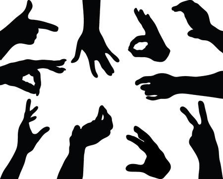 grabbing: Silhouettes  of hands, vector Illustration