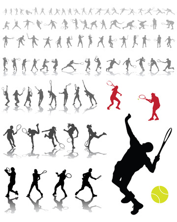 shadow match: Silhouettes and shadows of tennis players, vector