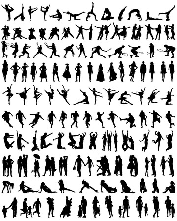 Big set of silhouettes of people Vector
