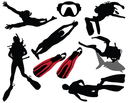 free diving: Silhouette of diver Illustration