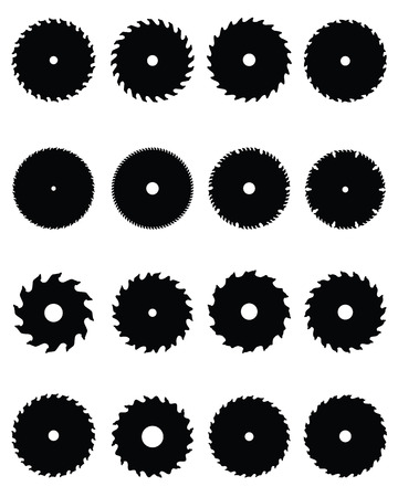 Black silhouettes of circular saw blades Vector