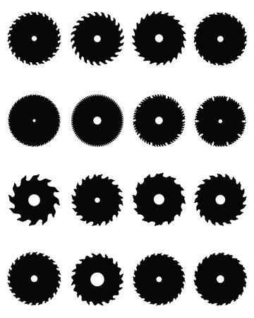 blade cut: Black silhouettes of circular saw blades Illustration