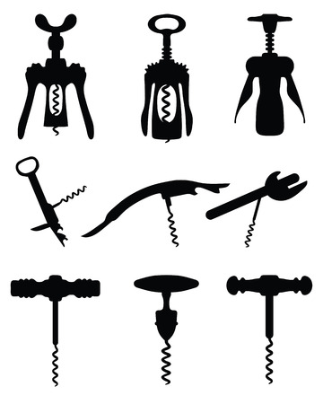 opener: Black silhouettes of different corkscrew