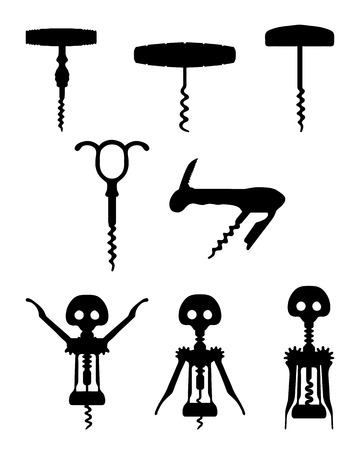 bartend: Black silhouettes of different corkscrew