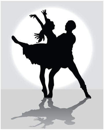 illustration of a ballet couple, silhouettes  Vector