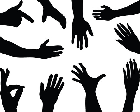 four hands: Black silhouettes of hands Illustration