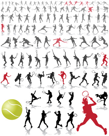 backhand: Silhouettes and shadows of tennis players Illustration