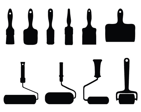 rollers: Black silhouettes of rollers and brushes illustration Illustration
