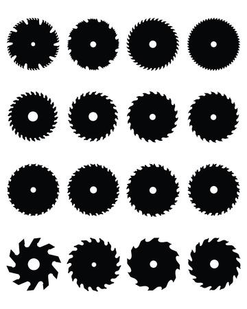 Grote reeks van zwarte silhouetten van cirkelzaagbladen Vector Illustratie