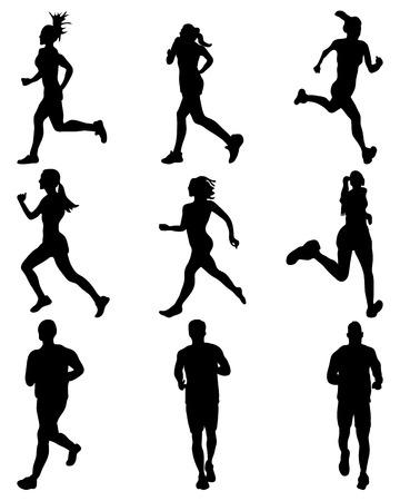 road runner: Black silhouettes of runners, vector Illustration