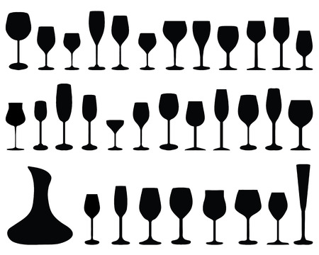 Black silhouettes of pitchers, glasses and bottles Illustration