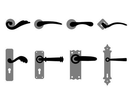 keys isolated: Silhouettes of doorknob and handles of the door, vector