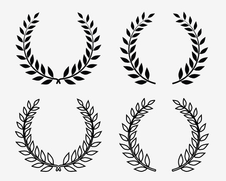 Black silhouettes of laurel wreaths, vector isolated