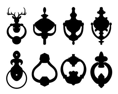 Black silhouettes of door knocker, vector illustration Illustration