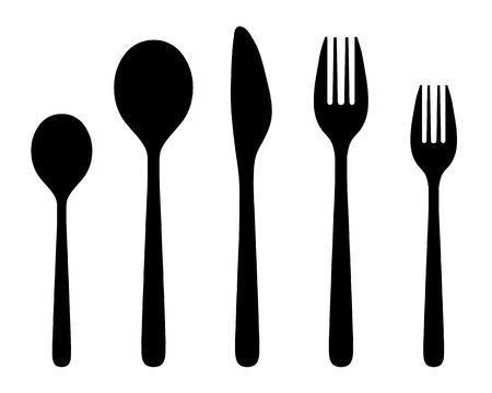 consume: Black silhouettes of knife, fork and spoon, vector