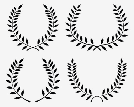 laurel branch: Black silhouettes of laurel wreaths, vector isolated