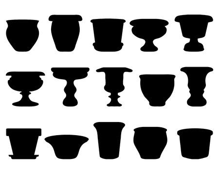 ollas de barro: Siluetas negras de macetas y cerámica, vector