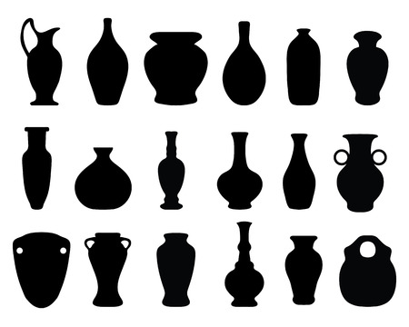 Black silhouettes of the vases and jars,vector Illustration