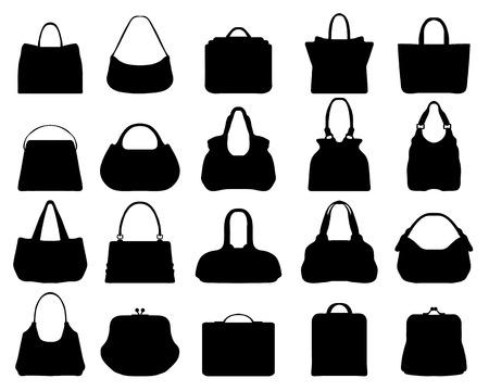 Big set of black silhouettes of handbags 3, vector Vector
