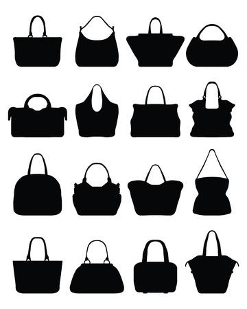 handbag: Big set of black silhouettes of handbags, vector