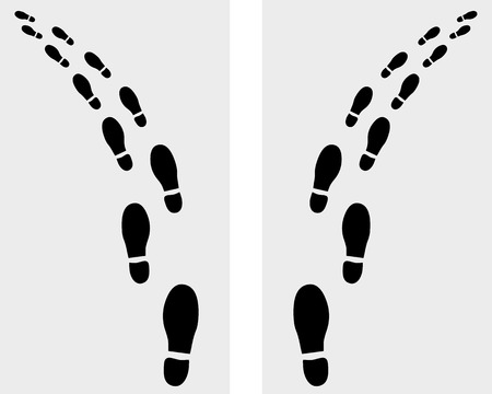 Trail of prints of shoes, turn left or right