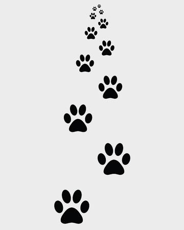 Black footprints of dogs, vector illustration Vector