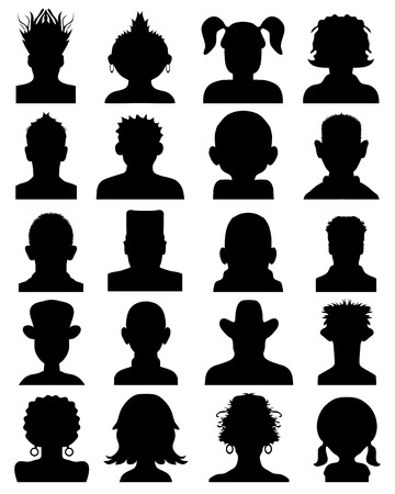 Set of silhouettes of heads,vector Illustration