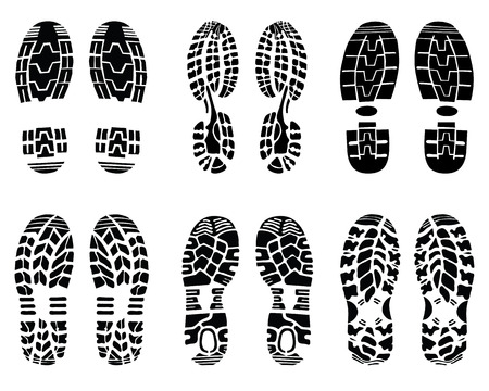 Verschiedene Drucke von Schuh-, Vektor-Illustration Standard-Bild - 29928013