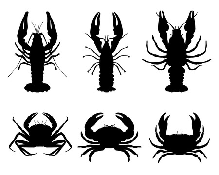 Black silhouettes of crawfish and crab, vector