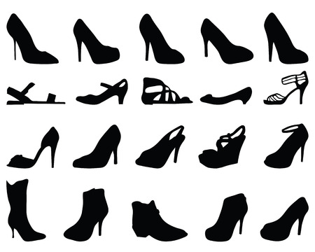 Black silhouettes of shoes, vector Illustration
