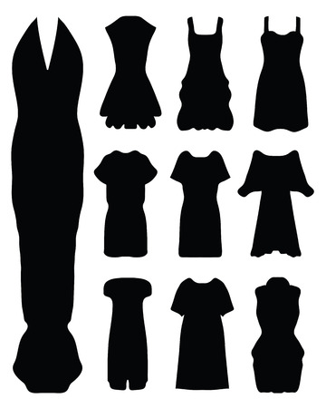 sexy image: Black silhouettes of women s dress, vector