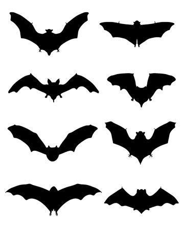 suck: Black silhouettes of bats, vector Illustration