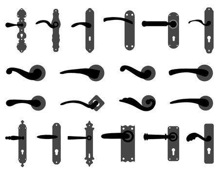 antique key: Silhouettes of doorknob and handles of the door 2, vector Illustration
