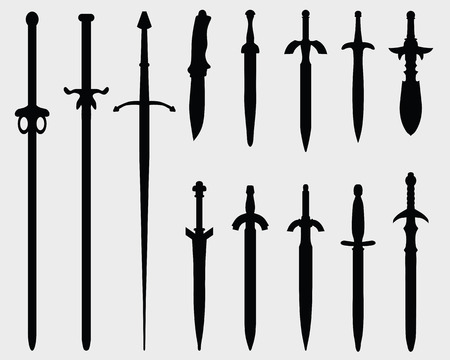 longsword: Black silhouettes of swords on a white background, vector