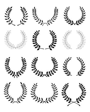 wreaths: Big set of black silhouettes of laurel wreaths, vector Illustration