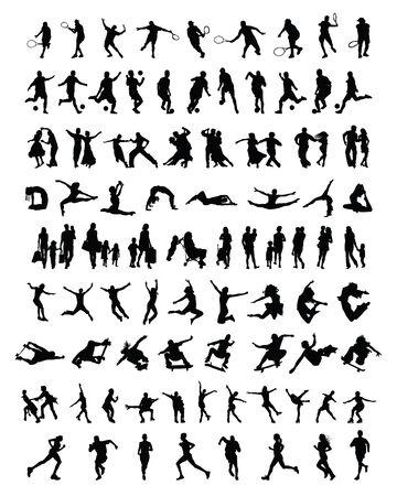 Große und andere Gruppe von Menschen Silhouetten Standard-Bild - 30459343