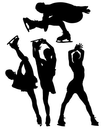 skater: Silhouettes of ice skating Illustration