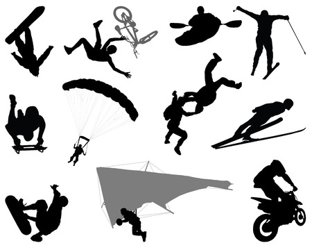 Silhouettes of extreme sports Illustration