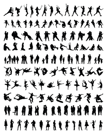 Big and different set of people silhouettes Vector
