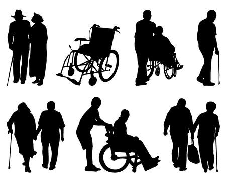 Silhouettes de personnes âgées et handicapées