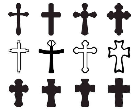 iron cross: Black silhouettes of different crosses Illustration