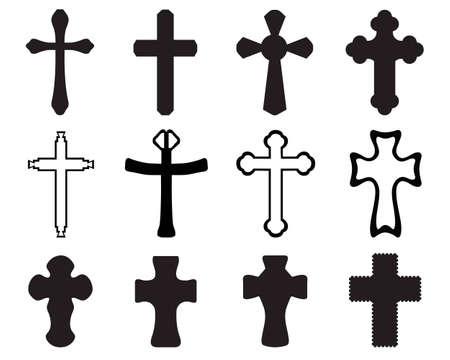 Siluetas negras de diferentes cruces