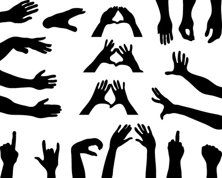 grabbing: Black silhouettes of hands Illustration