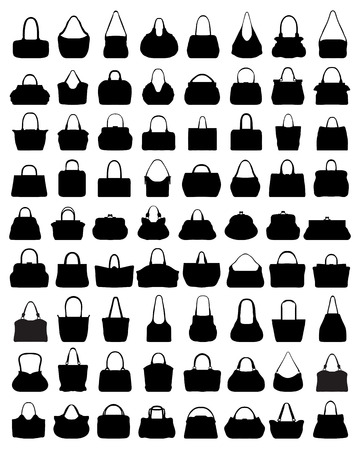 Black silhouettes of womens handbags illustration